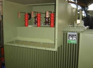 An inside view of a cable box installed on a distribution transformer