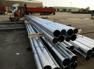 Steel Poles stacked in the yard